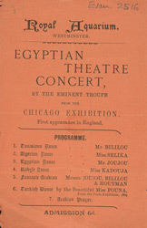 Advert for an Egyptian Dance Troupe